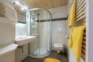 Bild: Lacknerhof Ferienwohnung Glantal: Badezimmer (Dusche, Waschbecken, WC, beheizbarer Handtuchhalter)
